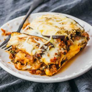 eggplant lasagna served on white plate