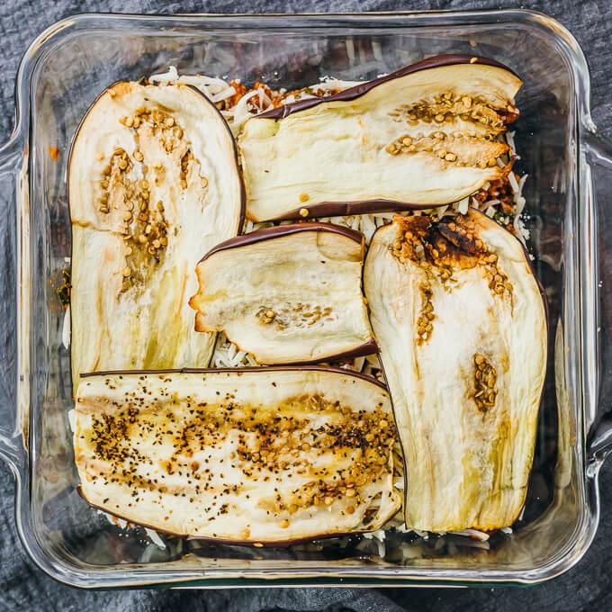 eggplant layer in a keto lasagna casserole