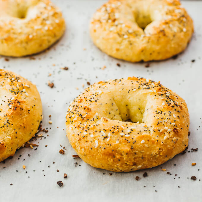 keto bagels freshly baked with everything bagel seasoning
