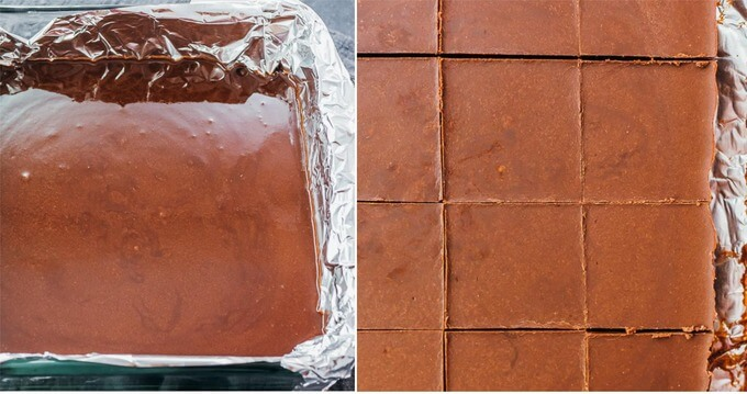 making low carb fudge before and after it has solidified