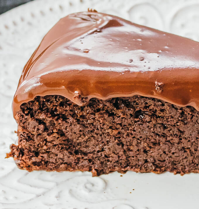 close up view of chocolate cake slice
