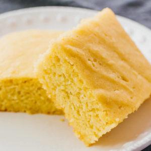 close up view of sliced cornbread