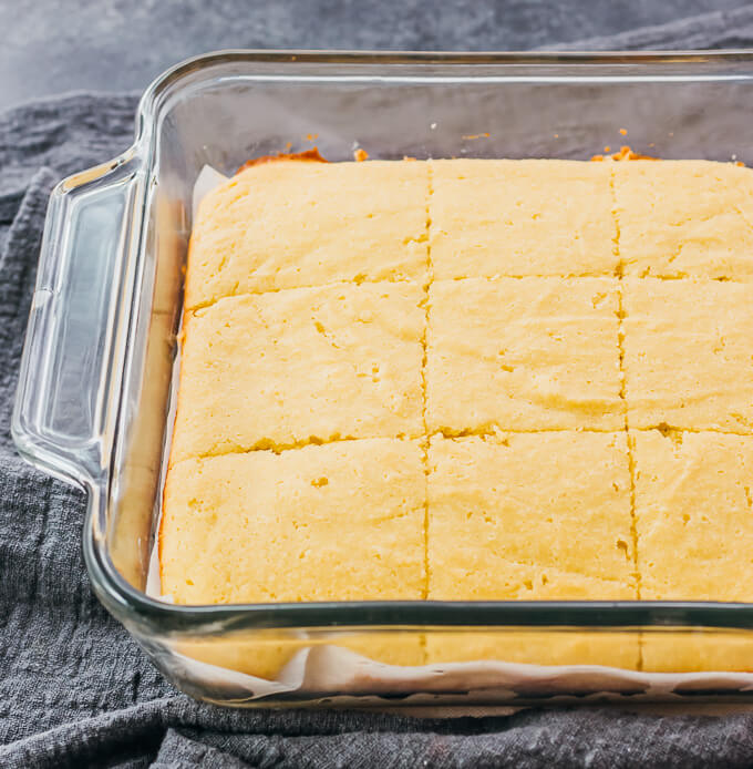 freshly baked low carb cornbread cut into slices