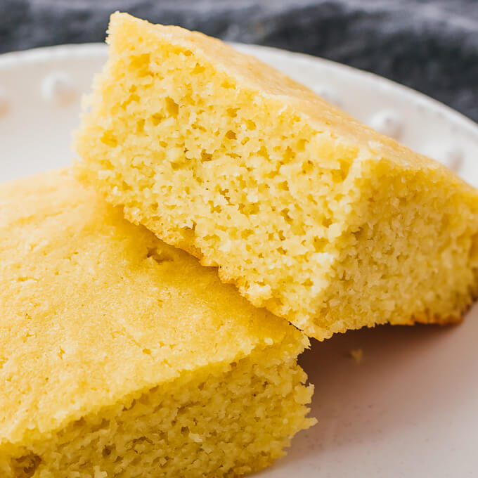 closeup view of moist texture in this healthy cornbread