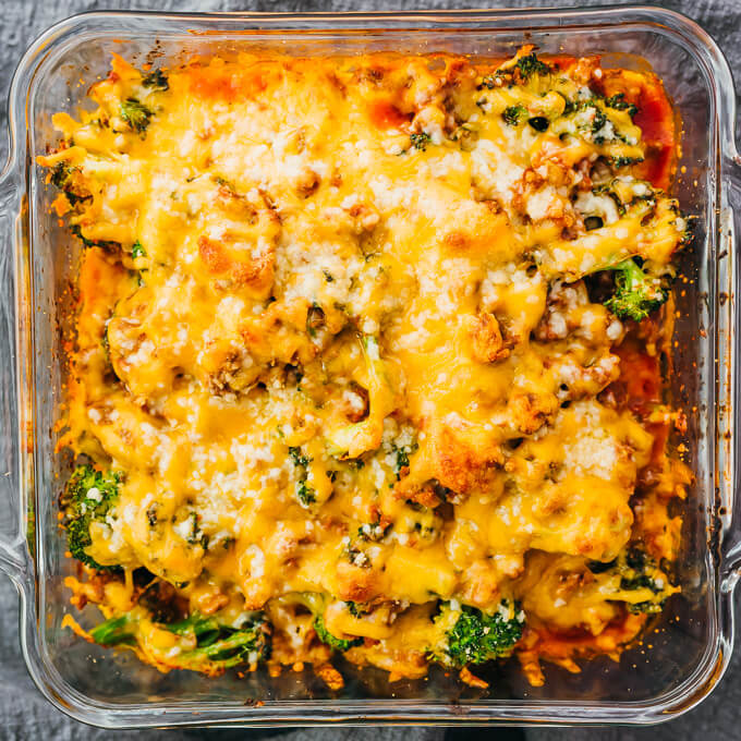 overhead view of newly baked keto cheeseburger casserole