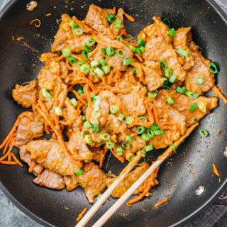 cooking beef stir fry with peanut sauce