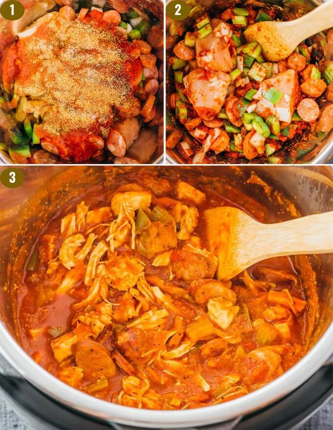 step by step making spicy gumbo in the pressure cooker
