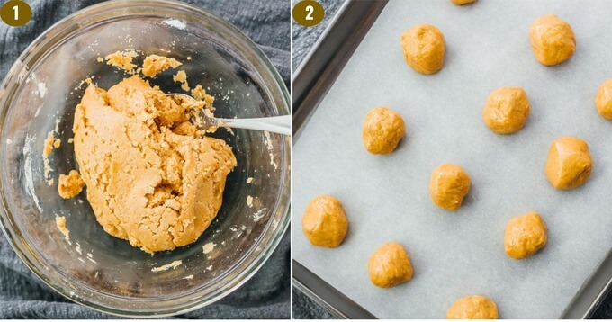 mixing together low carb peanut butter with swerve sweetener and almond flour to form balls