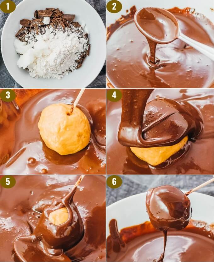 step by step showing how to melt chocolate for dipping keto peanut butter balls