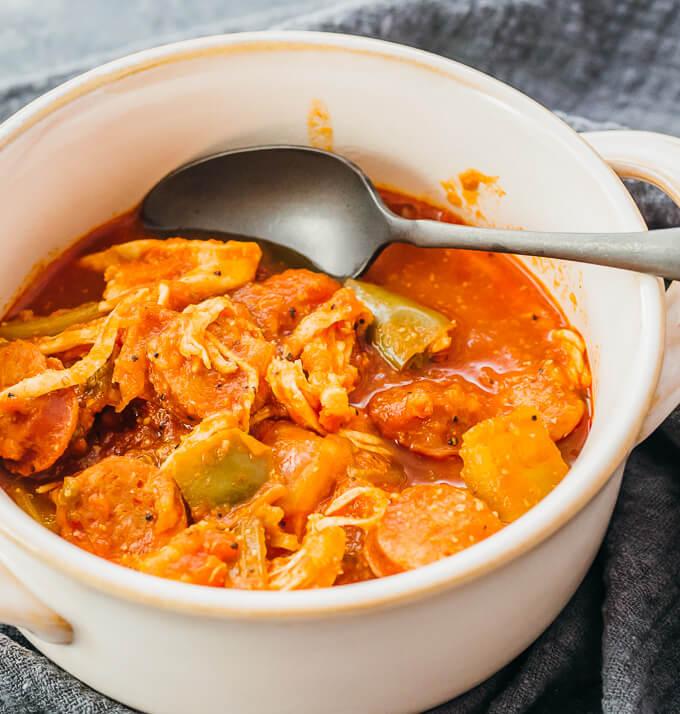 keto instant pot gumbo served in white bowl