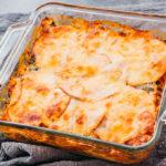 newly baked casserole with turkey deli layers