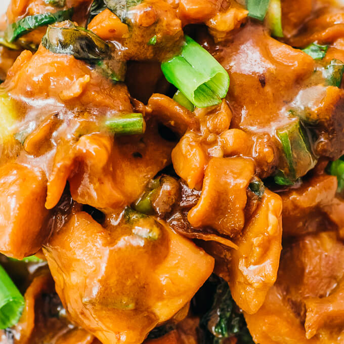 closeup view of keto asian chicken with low carb sauce