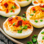 Spicy keto deviled eggs with bacon