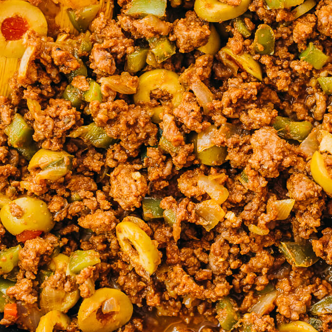 closeup view of an easy ground beef dish