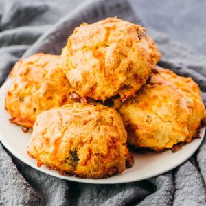 baked keto biscuits on white plate