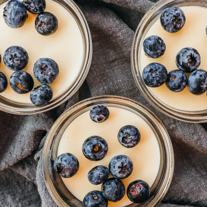 overhead view of 3 low carb lemon possets
