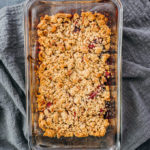 low carb apple berry crisp after baking