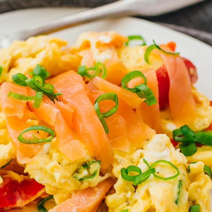 close up view of keto scrambled eggs with salmon