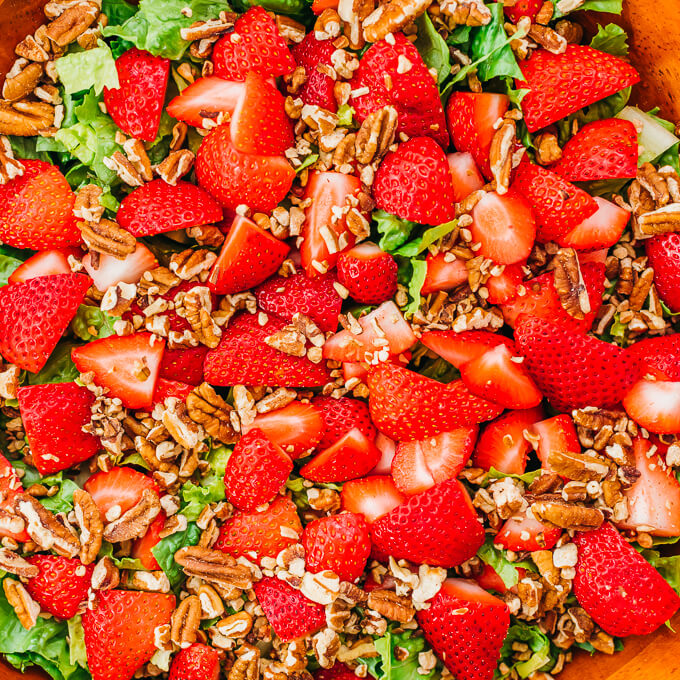chopped nuts and strawberries