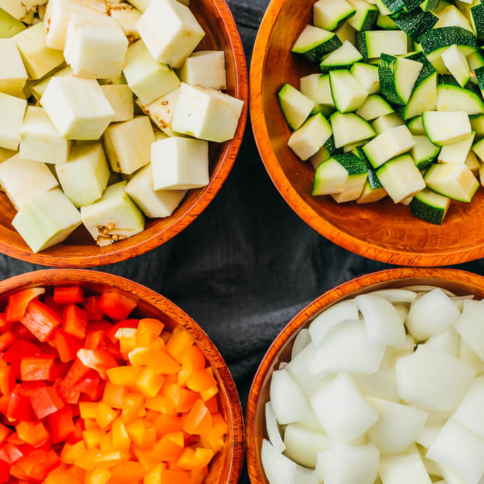 chopped vegetables for making ratatouille