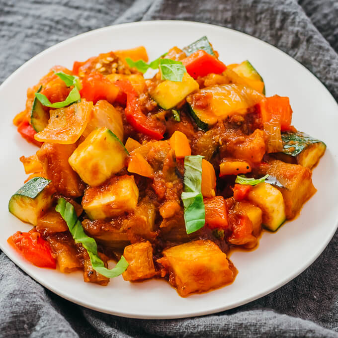 low carb ratatouille served on a white plate