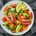 keto steak salad with tomatoes and avocado over lettuce