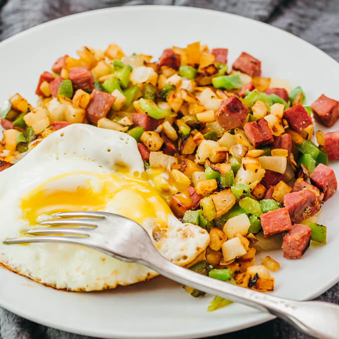 low carb breakfast hash served on white plate