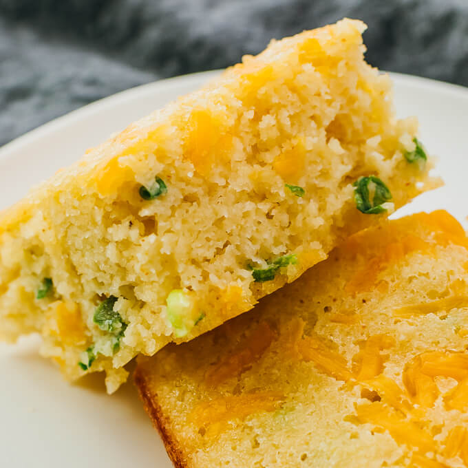 closeup view of low carb cornbread with jalapeno and scallions
