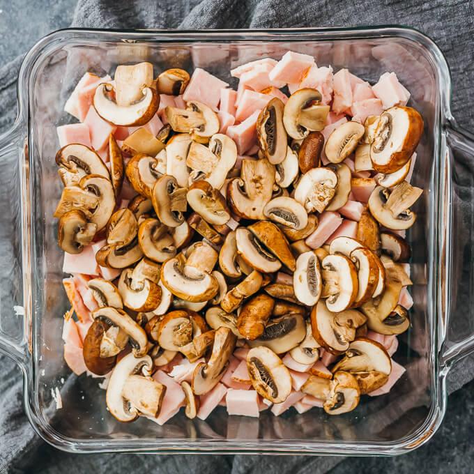 turkey and mushroom in baking dish