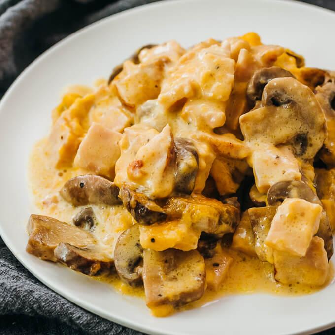 turkey mushroom casserole with creamy sauce