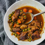 keto friendly lamb stew served in white bowl
