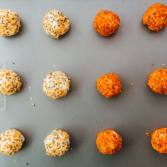 low carb cheese balls with different toppings