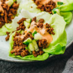 low carb lettuce cups with asian beef and spicy mayo