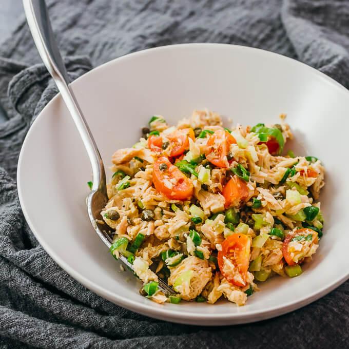 mediterranean tuna salad in white bowl