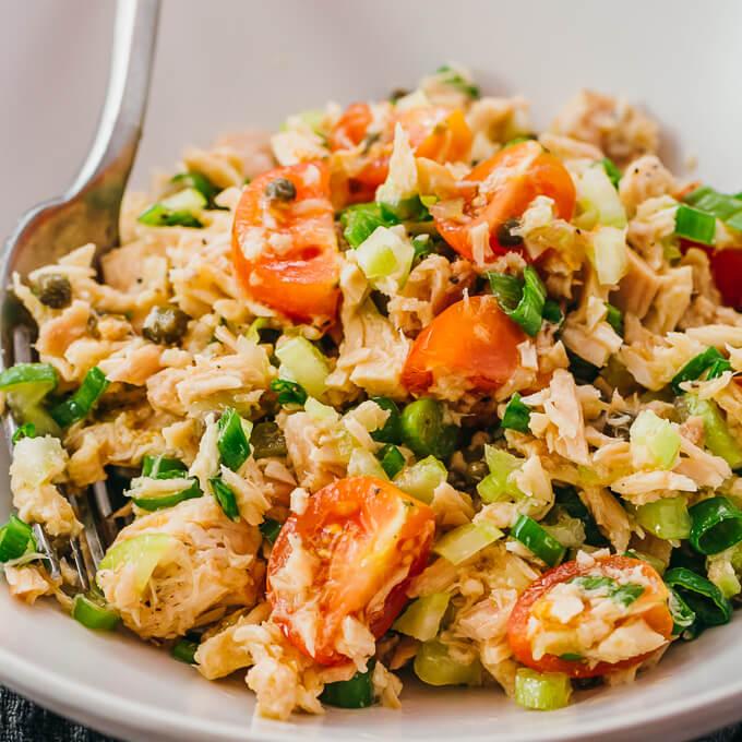 close up view of tuna salad