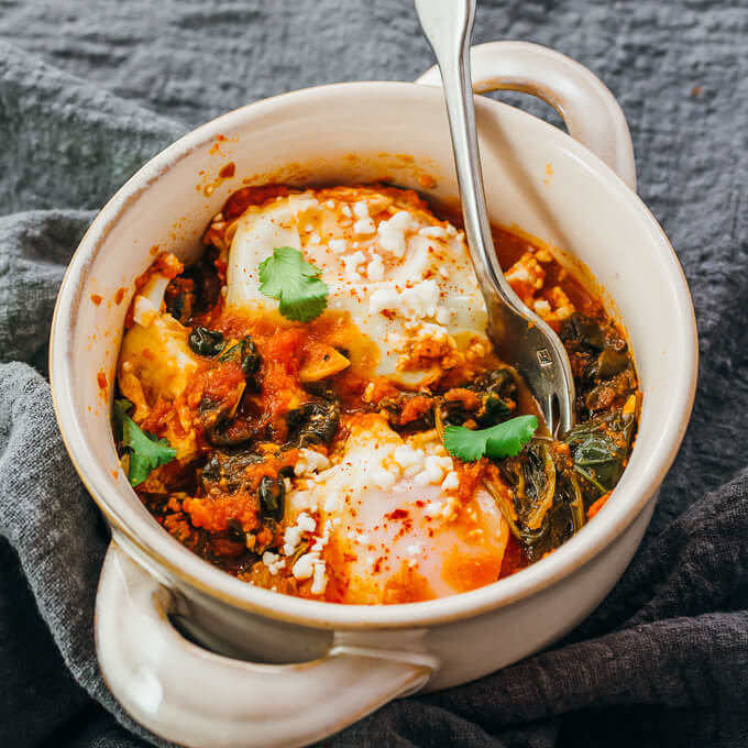 keto spinach shakshuka in serving bowl