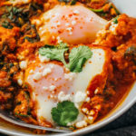 low carb spinach shakshuka with eggs and feta cheese