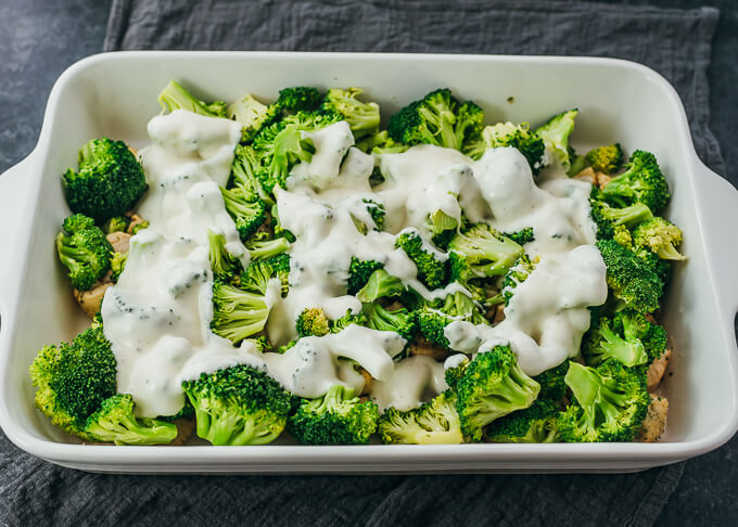 ranch dressing and broccoli in baking dish