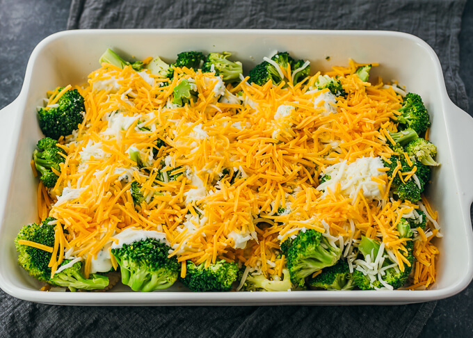 cheese and broccoli in baking dish