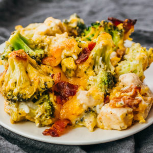 chicken bacon ranch casserole served on white plate