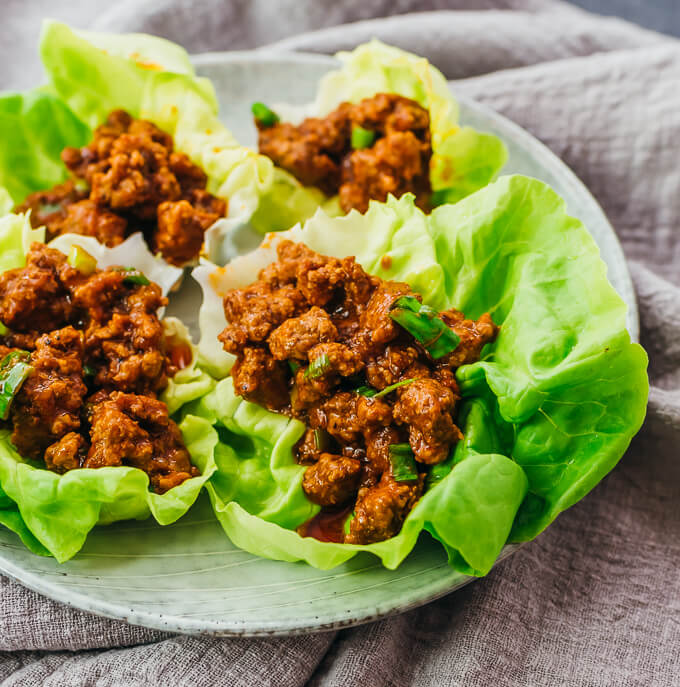 close up view of keto sloppy joes lettuce cups