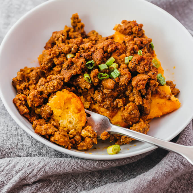 keto sloppy joes served over cornbread