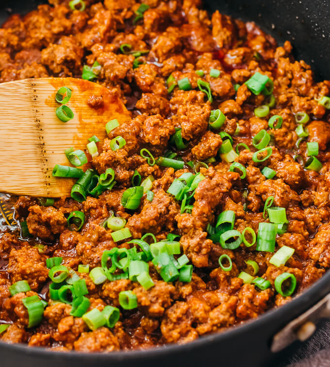 close up view of cooking sloppy joes