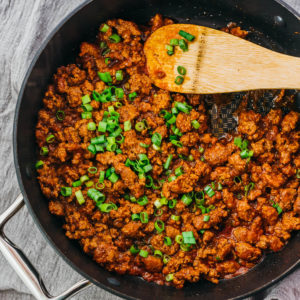 overhead view of asian sloppy joes in pan