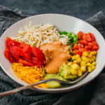 chicken burrito bowl with spicy mayo dressing