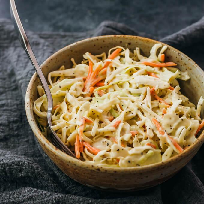 keto coleslaw served with fork