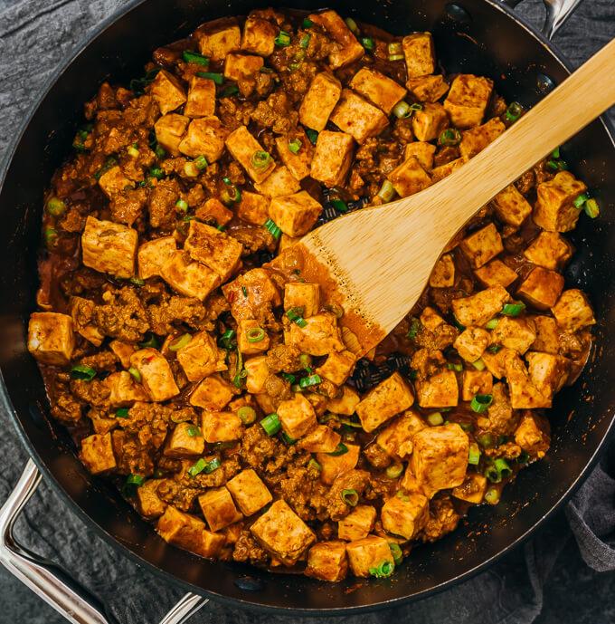 overhead view of mapo tofu in black skillet