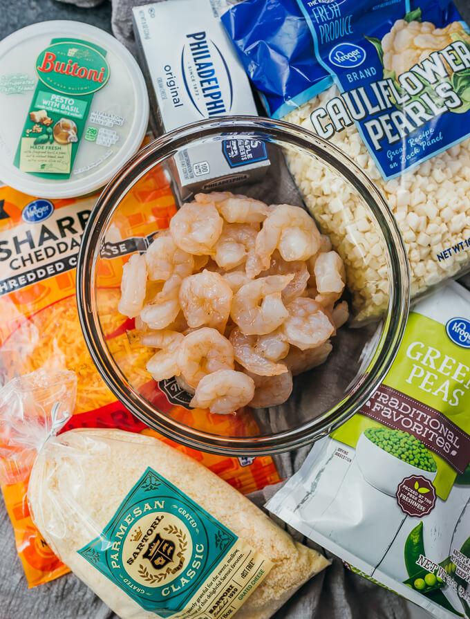 ingredients for making pesto shrimp dish