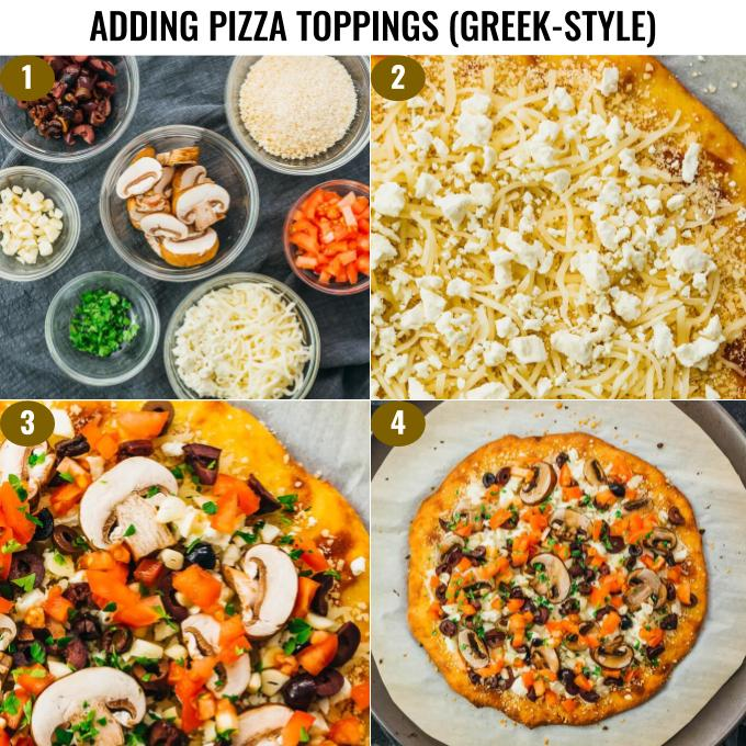 step by step on how to add greek pizza toppings