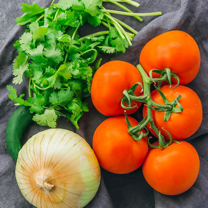 ingredients for making a simple salsa